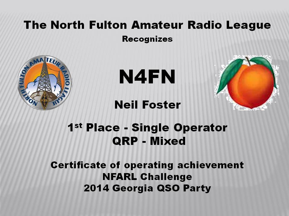 GA QSO Party Certificate